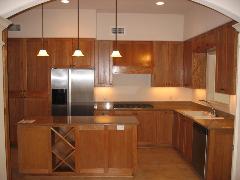 Kitchen Cabinets Wood Red Oak Finish Fruitwood